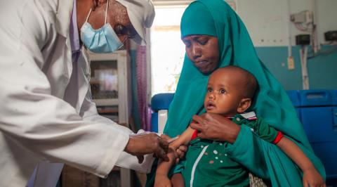 A child is vaccinated against measles at the DFID and UNICEF-supported Nutrition Health Centre in Hargeisa, Somaliland on 3rd February 2021.