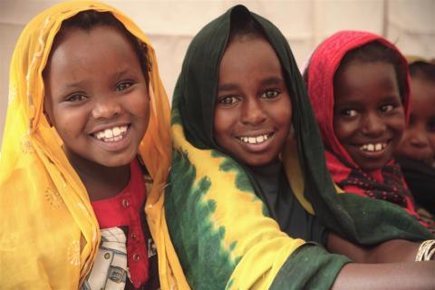 "Girl pupils in class at the UNICEF-assisted school in Dami internally displaced persons' camp, Hargeisa, Northwest Somalia (""Somaliland')."