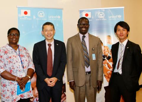 Group photo of representatives from Japan and UNICEF