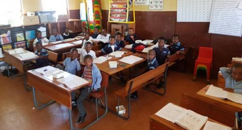 Enthusiastic learners at Dlangweza Senior Primary School