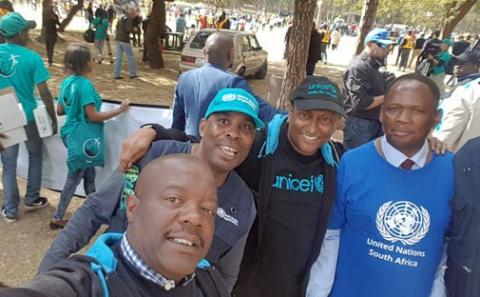 UNICEF staff joined colleagues from other UN agencies for the Hundred Man March against gender violence in Pretoria on 10 July 2018.