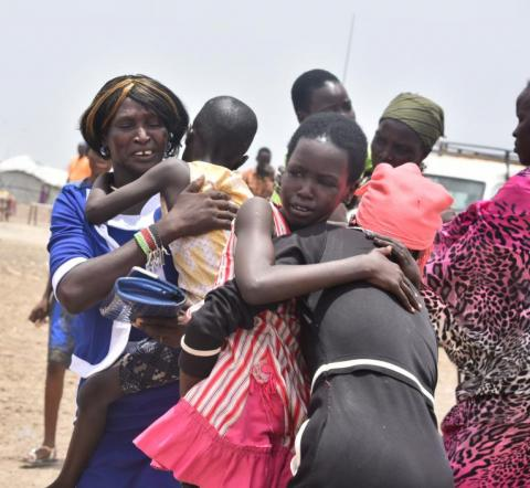 Tears of happiness when Emmanuela* 36, met her children in Bentiu Protection of Civilian (POC) site after five years of separation on 16th, April 2019.