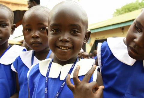 "Children at Sacret Heart Kindergarten in Juba is showing their ""polio finger""."