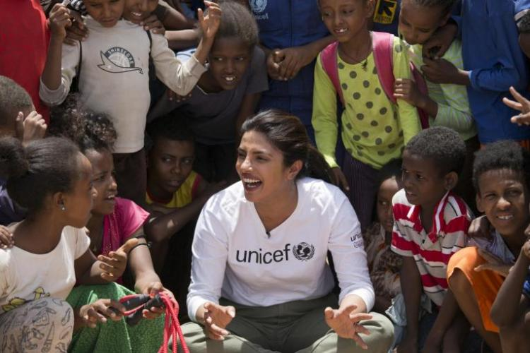 Priyanka Chopra Jonas met children and young people living in the Bambasi refugee camp and Hitsats and Adi-Harush camps, during a visit to Ethiopia with UNICEF.