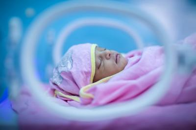 A pre-term baby is kept warm in an incubator