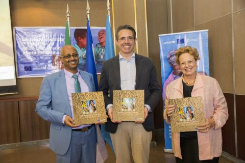 The nutrition photo book launch and photo exhibition held in the presence of Dr Abreham Alano, Head of the SNNP Regional Health Bureau, H.E Ambassador Johan Borgstam, Head of the European Union Delegation to Ethiopia, Ms Gillian Mellsop, UNICEF Representative to Ethiopia