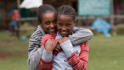 Girls should learn about mensturation and menstruation hygiene in order to keep them at school.  (Hiwot and Berhane at Zengoo Primary school, Sheno)