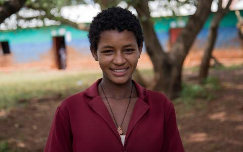 """I have three younger sisters and joinging girls club at school helped me teach them and also my parents about child marriage."" Birtukan Takele, 15, 8th grade student at Wengi primary school, Zigem, Amhara region. © UNICEF Ethiopia /2017/Marta Tadesse"