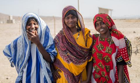 "Lek'o Ali, 19, and Fatuma Ali, 15, attend an adolescent girls' club in Afar, discussing harmful practices. Lek'o says, ""I want to teach the public. FGM has to end in my community."""