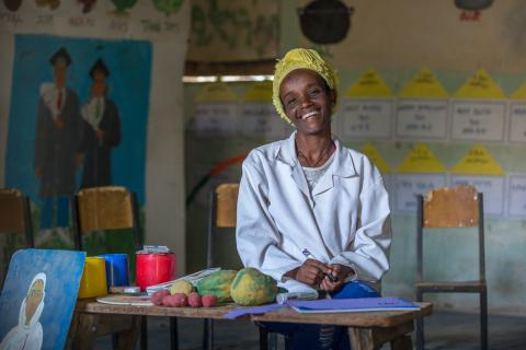 Tsadkan Demissie, a mother of two, have been teaching students in 'O' class in Mequat primary school for almost for a decade.