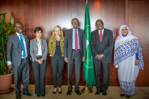 Omar Abdi Deputy Executive Director and H.E. Amira Elfadil Commissioner of Social Affairs at the African Union Commission pose for a group photo on 15 January 2019 at the AUC, Addis Ababa, Ethiopia.