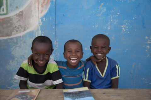 Nuro, Yusuf and Musa, 6 are the happy faces in the Accelerated School Readiness program at Simbile Primary School, Afar region