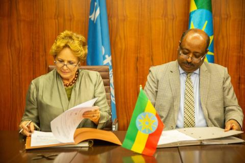 UNICEF Representative to Ethiopia, Gillian Mellsop, Admasu Nebebe, State Minister, Ministry of Finance and Economic Cooperation