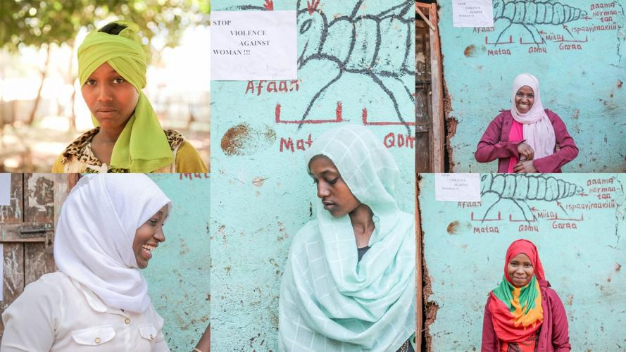 (Top row, left to right) 8th grader Asiya Haj Abdurma Usman and 7th grader Ashe Abdulahi,; (Bottom row, left to right), 7th grader Biftu Amar Kudir, 6th grader Anifa Abdella Barki, and 7th grader Ayate Ahmed Mustafa, © UNICEF Ethiopia/2019/Melkit Mersha