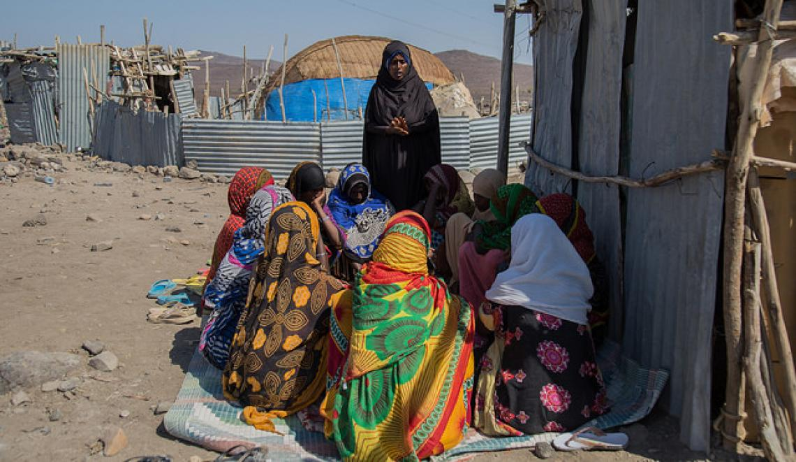 "Zahara Mohammod, 28 discusses about FGM/C with ""Unmarried Adolescent Girls' Club"" at Mille Woreda, Afar. © UNICEF Ethiopia /2018/Tadesse"