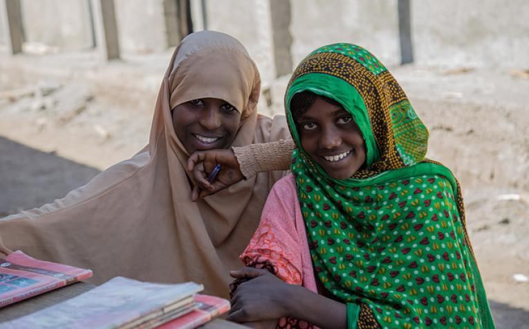 Best friends in grade 7 at Saraytu Primary School. Left to Right: Medina Amin and Medina Mohammod, Afar.
