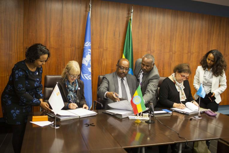 Annual work plans signing ceremony by H.E. Mr. Admasu Nebebe, State Minister of Finance, Ms. Adele Khodr, UNICEF Representative to Ethiopia and Heads of Regional Bureaus of Finance and Economic Cooperation.  UNFPA, represented by Mrs. Bettina Maas, UNFPA Country Representative to Ethiopia