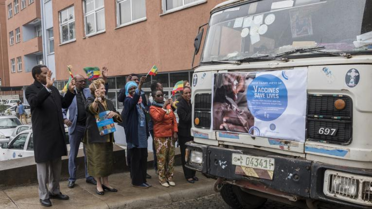 H.E Dr Kebede Worku, State Minister of Health and Ms Gillian Mellsop, UNICEF representative to Ethiopia flags off a truck which transports SDD refrigerators to Health Posts.