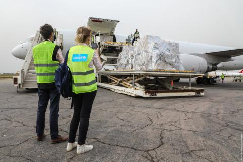 A plane chartered by UNICEF landed today at N'Djamena airport, Chad, carrying vital health supplies and goods to support the COVID-19 response.