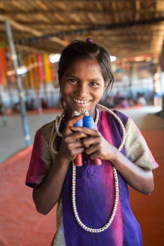 "On 2 May 2017 in Kutupalong Camp in Bangladesh, ""I love jumping rope, drawing pictures and playing the tambourine,"" says Asia, 10. She's in a UNICEF-supported child friendly space. She also attends a UNICEF-supported learning centre in the camp."