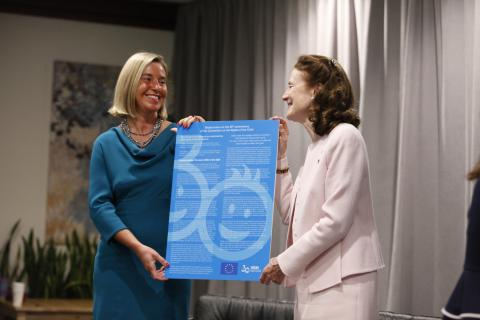 "On 23 September 2019 at UNICEF Headquarters, UNICEF Executive Director Henrietta H. Fore (right) and EU High Representative and Vice-President Federica Mogherini participate in ""#TheRealChallenge – Looking Back & Aiming Forward on Child Rights,"" a High-Level event, hosted by the EU and UNICEF, to celebrate the 30th anniversary of the UN Convention on the Rights of the Child."