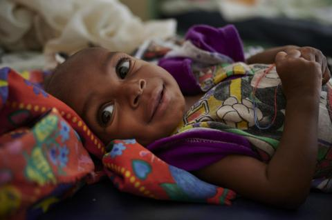 Ali Abubakar smiles while recovering from severe malnourishment at UNICEF supported Damazin Hospital Stabilization Centre in Ad-Damazin, the capital of the Blue Nile State in Sudan.