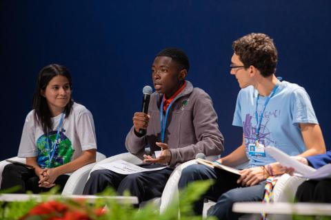 On 9 December 2019, Nkosilathi Nyathi, a youth activist from Zimbabwe, participates in a panel discussion during the High-level Event on Climate Change and Children Rights, part of the 2019 UN Climate Change Conference (COP 25) in Madrid, Spain.