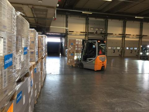 Supplies are shipped from the UNICEF Supply Division Warehouse in Copenhagen in Denmark.