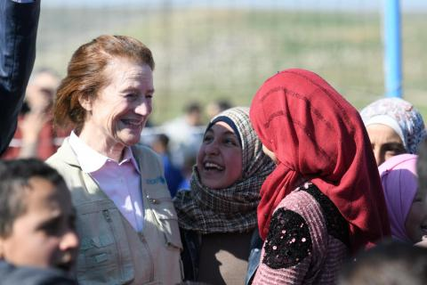 UNICEF Executive Director Henrietta H. Fore, visits with students at Tal-Amara school in the Syrian Arab Republic.