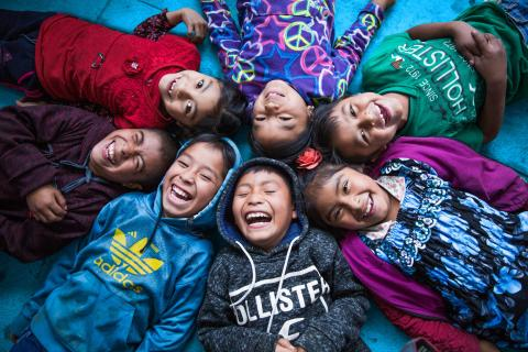 Laughter of children of the indigenous community in Guatemala