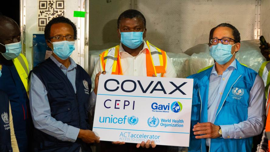 UNICEF and WHO Reps handover COVAX vaccines to Minister of Health of The Gambia