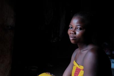 Adamu Alhassan in the doorway of her bedroom in Gbandu in the Northern Region of Ghana on 26 August 2016.