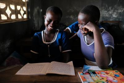 Students revising in a classroom at St Paul's Anglican Basic School in Accra, Ghana.