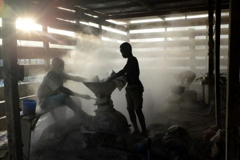 A young boy exposed to dust in a local mine
