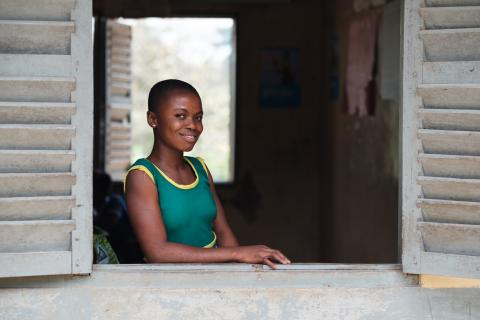 Linda Okyere Baffour (13), a student at AME Zion School in Odoben, Ghana, on 19 January 2018.