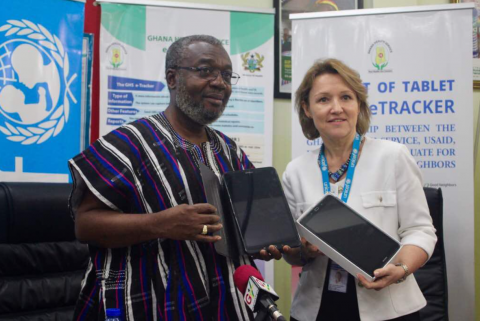 UNICEF hands over 230 computer tablets to the Ghana Health Service.