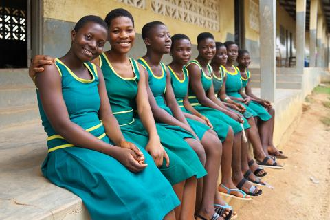 A group of girls at the Odoben A.M.E. Zion missionary school in Asikuma Odoben Brakwa District, Central Region on 7 September 2016