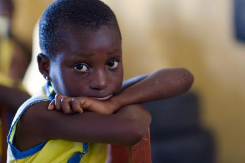 A student in a kindergarten class at Aldersgate Methodist Basic School in Elmina in the Central Region of Ghana on 21 May 2015.