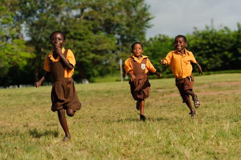 Students playing at Efutu Basic School in the Central Region of Ghana.