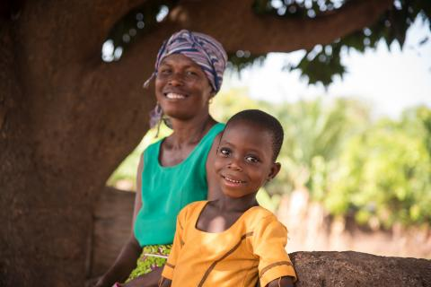 Grace Nugbe, 7, with her Mother Joyce Nugbe in Nchumuru in the Volta Region.