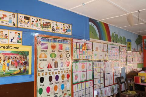 Print-rich kindergarten class environment at Ashongman M.A Basic '1'