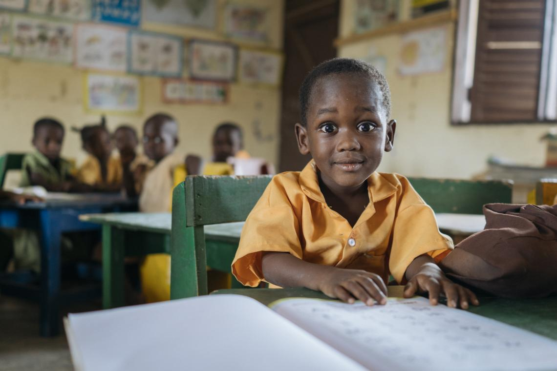 A young boy in his classroom in Afram Plains.