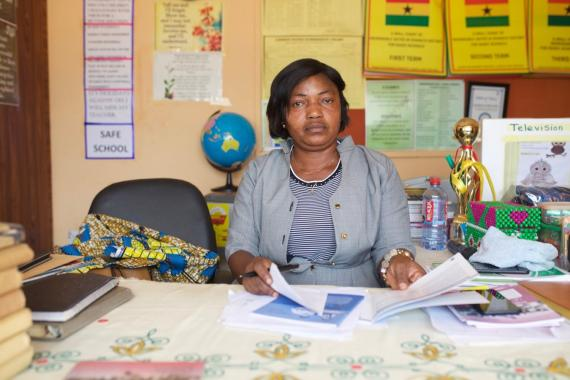 Headteacher Francisca Bello, actively promotes early learning and stimulation in her school.