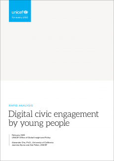 Cover image for UNICEF Global Insight rapid analysis of digital civic engagement paper