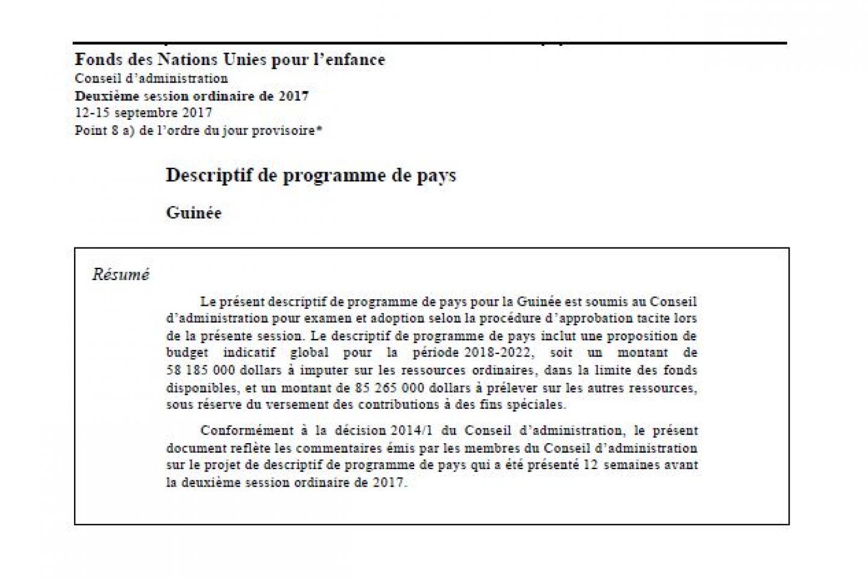 Le Descriptif De Programme De Pays Unicef Guinee