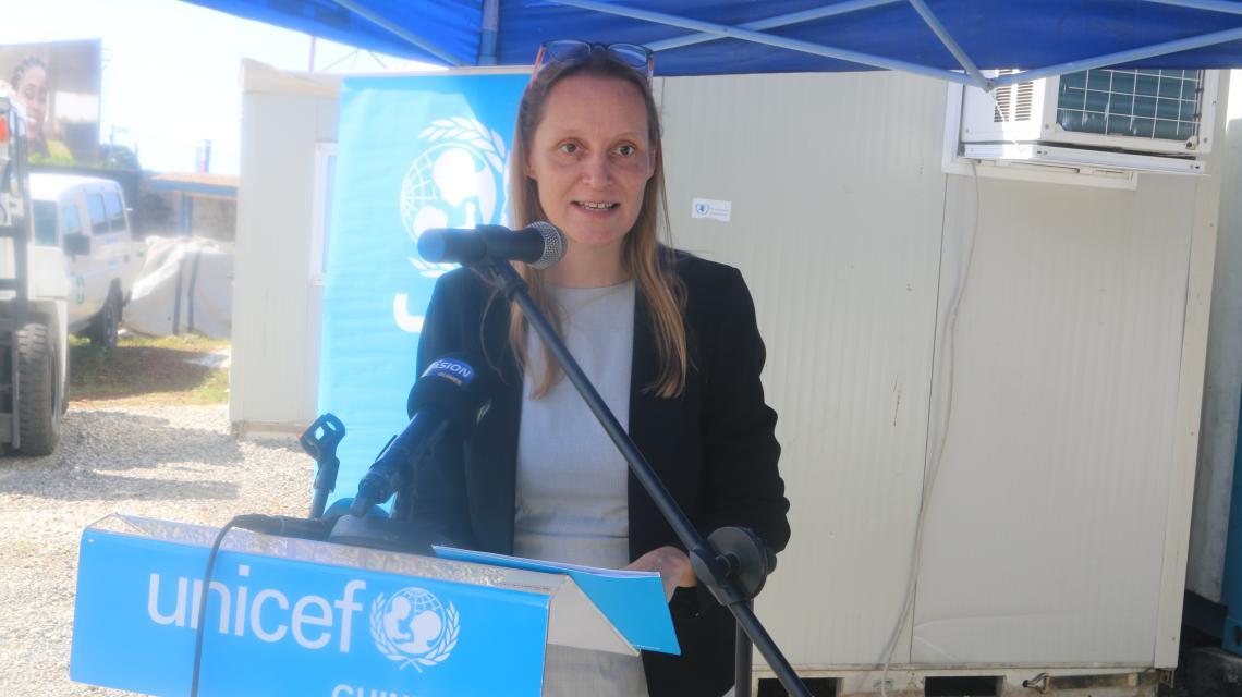 Magali Romedenne, Représentante adjointe de l'UNICEF prononçant son discours
