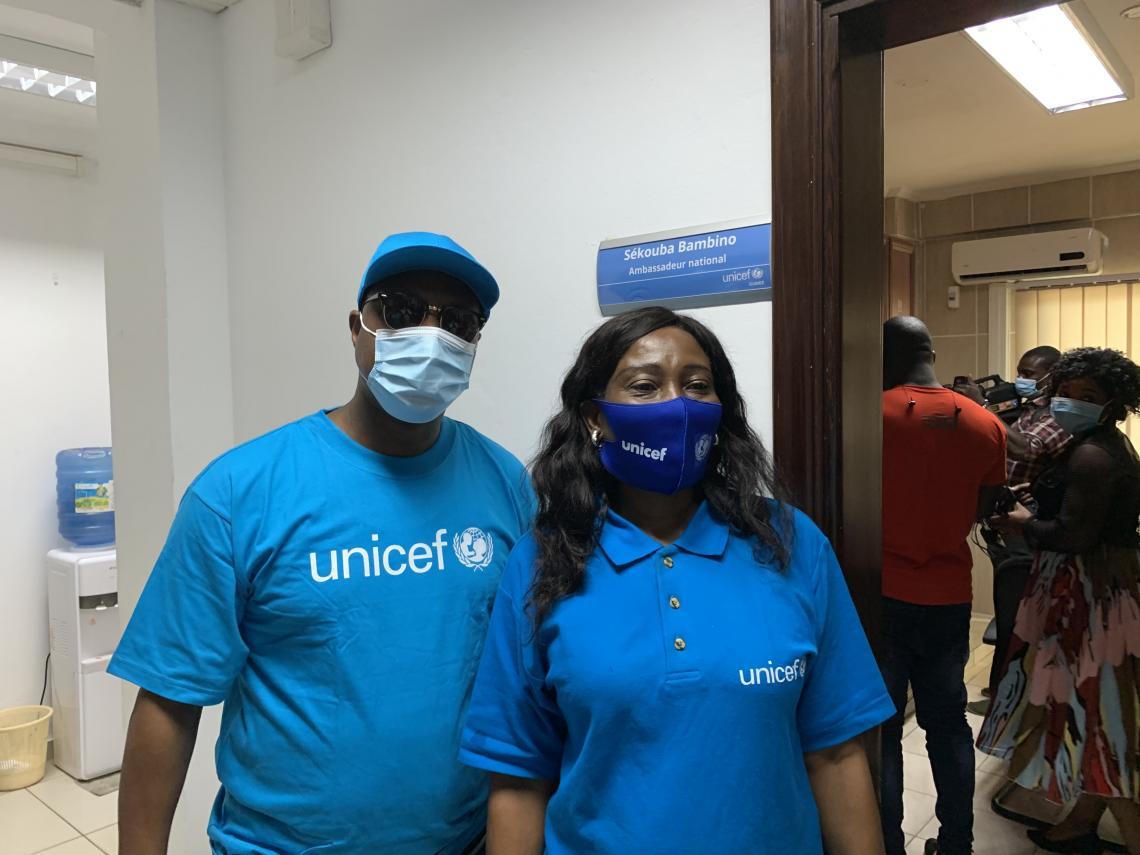 Sekouba Bambino, Ambassadeur UNICEF Guinée et Christine Naré Kaboré, Représentante adjointe UNICEF