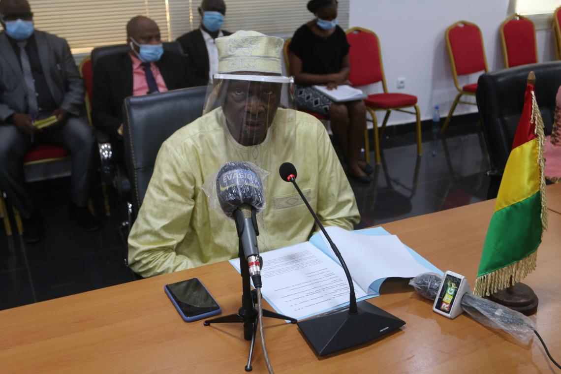 Mamadi Camara, Ministre de l'économie et des finances prononçant son discours à l'occasion de la signature de la convention avec l'UNICEF