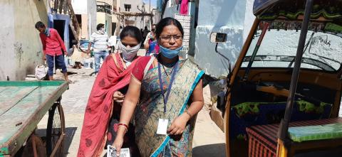 Front-line women workers like Lalita are stepping out of the safety of their homes to build awareness and ensure safety of their communities, braving the COVID-19 Pandemic that has gripped the State of Andhra Pradesh.