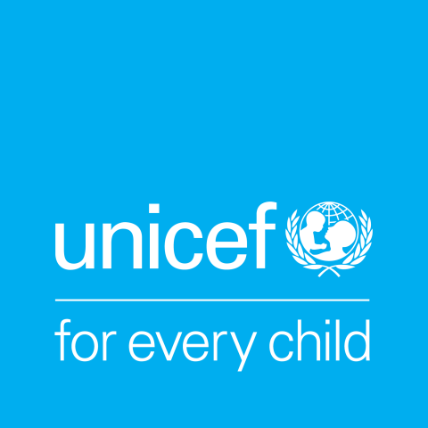 UNICEF logo and for every child with a blue background